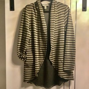 Joseph Ribkoff   12 Striped Open Cardigan, Hooded